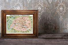 "Vintage Paris Tourist Map ""Paris Monumental et Metro"" Europe Antique Map - European Travel Tourism. $25.00, via Etsy."