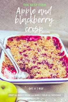 This apple and blackberry crumble recipe is a British classic and total crowd pleaser making it perfect for potluck parties and is vegan, dairy free and refined sugar free. Vegan Crumble, Blackberry Crumble, Crumble Recipe, Almond Recipes, Dairy Free Recipes, Vegan Recipes, Easy Recipes, Vegan Sweets, Vegan Desserts