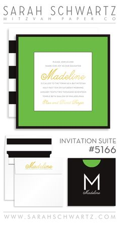 A modern, preppy green Bat Mitzvah invitation suite with black and white stripes