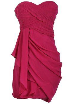 Draped Chiffon Dress in Navy