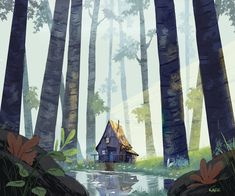 53 Best ideas for house sketch painting Art And Illustration, Forest Drawing, Illustrator, Arte Horror, Wow Art, Sketch Painting, Environmental Art, Motion Design, Landscape Art
