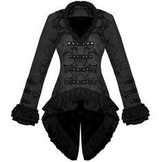 LADIES NEW BLACK GOTHIC MILITARY SATIN STEAMPUNK FLORAL BROCADE JACKET COAT | eBay