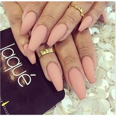 Nude coffin nails | Nails | Pinterest ❤ liked on Polyvore featuring beauty products, nail care, nail treatments, nails and nail polish