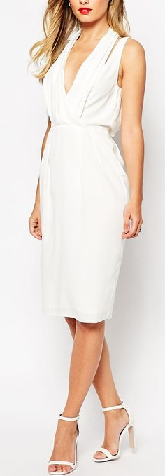 Buy ASOS Splice Shoulder Drape Front Dress at ASOS. Get the latest trends with ASOS now. Red Midi Dress, Dress Up, Draped Dress, White Cut Out Dress, Dress The Population, Costume, Latest Dress, Models, Vestidos