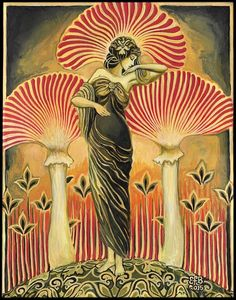 """Soma Goddess"" - An original painting by Emily Balivet.  Soma is an ancient intoxicating drink frequently mentioned in the Hindu Rig Vedas. Prepared from a mysterious plant and used in Vedic ritual, it was believed to be the ambrosia of the gods and granted immortality. It has been suggested that Soma may have been hallucinogenic mushrooms. Soma literally means ""body"" in Sanskrit and unites the holy trinity of mind, body, and spirit."