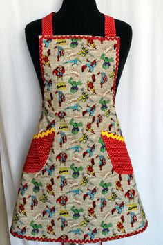 Women\'s Vintage Style Apron in Red and Aqua | Pinterest | Rick rack ...