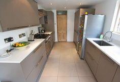 Beige Grey Satin Lacquer kitchen with Alaska  Compac Quartz worktop