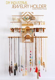 Have a lot of jewelry? I do and I made this super fun industrial trend jewelry holder you hang on your wall! See the tutorial on madeinaday.com