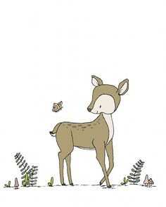 Deer Nursery Art -- Deer and Butterfly -- Woodland Nursery Art -- Deer Art -- Woodland Animal Art, Children Art, Kids Wall Art, Deer Picture