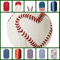 Jamberry Baseball Sport Themed Nails www.thetrendynails.jamberrynails.net