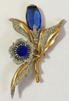 RARE-VINTAGE-EARLY-BOUCHER-RHINESTONE-BROOCH-PIN