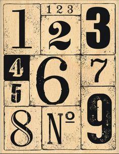 NÚMEROS Vintage Tags, Vintage Labels, Vintage Ephemera, Vintage Paper, Vintage Prints, Etiquette Vintage, Vintage Numbers, Vintage Lettering, Decoupage Paper