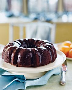 chocolate bundt cake...I used honey instead of sugar, almond milk instead of whole milk, and yogurt instead of sour cream and added a little strong coffee.  Very yummy and not overly sweet.