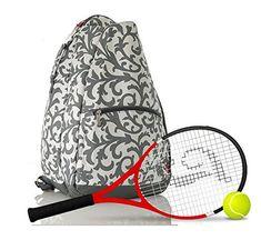 fec39fc96f46 Personalized Damask Tennis Bag GREY Damask Pattern Tennis Backpack Tennis  Racket Bag Sports Bag