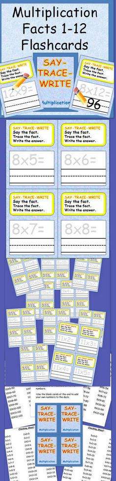 Do you need a resource that you can send home with your students to help them practice their multiplication facts at home, especially with a dry erase marker so that they can write to reinforce?  Click on this link to find Flashcards for learning multiplication facts.