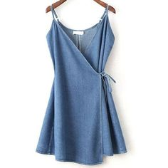Blue Wrap Cami Dress With Tie Detail (26 BRL) ❤ liked on Polyvore featuring dresses, blue dress, wrap tie dress, blue cami, blue cami dress and wrap style dress