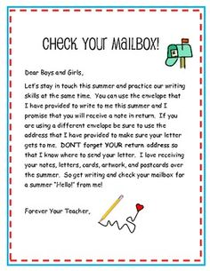 End of the school year teacher letter i have included this in each i like to keep my kiddos writing over the summer and this is one easy way expocarfo Gallery