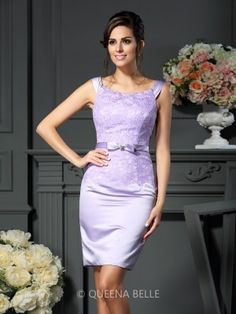 Sheath/Column Sleeveless Scoop Bowknot Short/Mini Satin Mother of the Bride Dresses