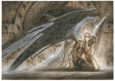 The Fallen Angel by Luis Royo Dark Fantasy Art, Fantasy Art Angels, Fantasy Kunst, Fantasy Artwork, Dark Art, Heavy Metal Art, Bell Art, Ange Demon, Luis Royo