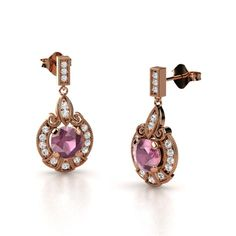 Round Pink Tourmaline 14K Rose Gold Earrings with White Sapphire - Chantilly Earrings