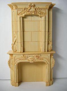 Dollhouse Cast Resin Grand Salon Fireplace 4152 | eBay