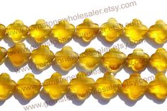 Yellow Chalcedony Faceted Flower Quality AAA by GemstoneWholesaler