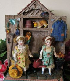 """"""" Tiny Gardeners"""" Two tiny 3"""" All Bisque Antique Dollhouse sisters in from nhlove on Ruby Lane"""