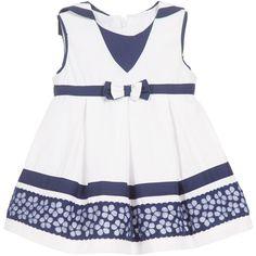 Baby Girls White & Navy Blue Sailor Dress