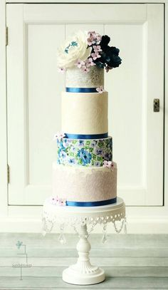 Blue floral wedding cake idea; Featured: Sweetlake Cakes