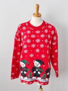 Ugly Christmas Sweater Jumper Women men L BUSY Bears snowflakes CS12 #Adele #Crewneck