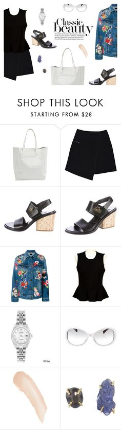 """""""Spring things: mini skirts and sandals and flowers and denim"""" by maddophelia ❤ liked on Polyvore featuring Alexander Wang, MARC CAIN, Balenciaga, Yves Saint Laurent, French Connection, Rolex, Chanel, Illamasqua, Melissa Joy Manning and blockheels"""