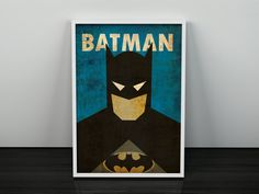 Batman Art Minimalist Vintage Poster Superhero Poster batman print Minimalist Art Poster Gift Boyfriend Home Decor Office Artwork