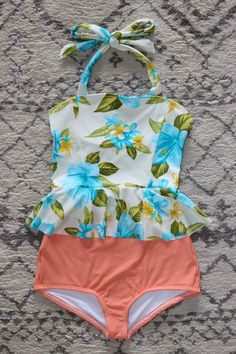 Poppy Peplum – Beverly Swimwear. Blue Flowers with Cantaloupe bottoms. Modest two piece swimsuit. New fabrics for the summer