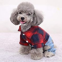 HOODDEAL Pet Clothes Dog Shirts Stylish Plaid Collar Shirt with Overalls Jeans Jumpsuit and Warm Sweater Vest Two-Piece Cozy Adorable Outfit for Small Puppy Cat (Small, Red-Black) - X-Large / Black-White