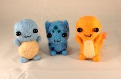 Complete Set of Needle Felted Kanto Starters! by Charlottejks.deviantart.com on @deviantART