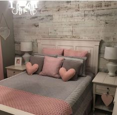 43 cute and girly bedroom decorating tips for girl 35 Pink Bedroom Decor, Pink Bedroom For Girls, Pink Bedrooms, Apartment Bedroom Decor, Cozy Bedroom, Trendy Bedroom, Bedroom Inspo, Girl Rooms, Bedroom Bed