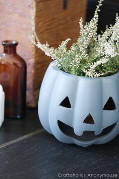 pumpkin planter tutorial - Great Halloween decor! Use a little spray paint to update a dollar store find.
