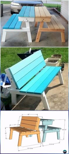 DIY Picnic Table that Converts to Benches Instructions - DIY Outdoor Table Ideas & Projects Free Plans