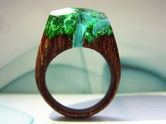 Geppetto Jewelry presents: Wood ring AZURE FALLS.