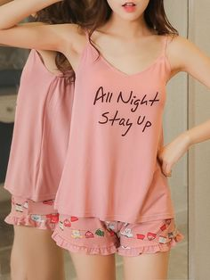 ROMWE offers Letter Print Cami & Frill Trim Shorts PJ Set & more to fit your fashionable needs. Cute Sleepwear, Sleepwear Women, Pajamas Women, Kpop Fashion Outfits, Girls Fashion Clothes, Girl Outfits, Cute Pajama Sets, Pj Sets, Cute Lazy Outfits