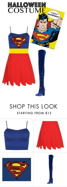"""SUPERMAN"" by fashion-lover2001 ❤ liked on Polyvore featuring WearAll, Miu Miu, Aquazzura, halloweencostume and DIYHalloween"