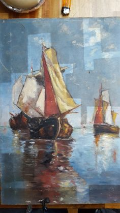 In the process of cleaning. oil on canvas dimensions cm Sailboat Painting, Impressionist, Oil On Canvas, Boats, Sailing, Cleaning, Author, Candle, Boating