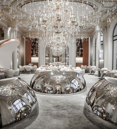 Following a multi-million dollar revamp, the decor at Hotel Plaza Athénée has an almost futuristuc feel.