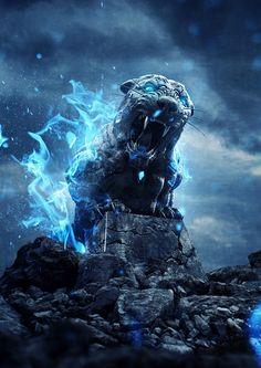 Tutorial de Photoshop en español: Tigre de Piedra en Llamas