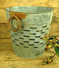 "Round Olive Bucket Small Gray (Save 57%) from ""save-on-crafts"""