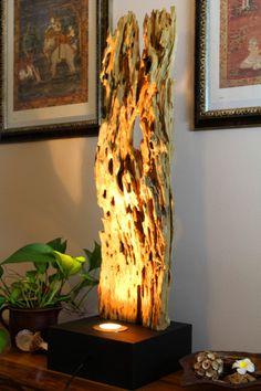 Stehlampen - Stehlampe 90cm antike Teakrinde mit Strahler - ein Designerstück von Kinaree-de bei DaWanda
