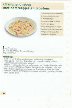 champignonsoep met hamreepjes net croutons