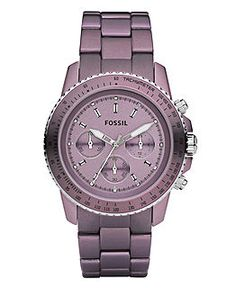 Fossil Watch, Chronograph Purple Aluminum Bracelet - All Watches - Jewelry & Watches - Macy's Stylish Watches, Luxury Watches, Cool Watches, Watches For Men, Ladies Watches, Herren Chronograph, Fossil Watches, Analog Watches, Bracelets