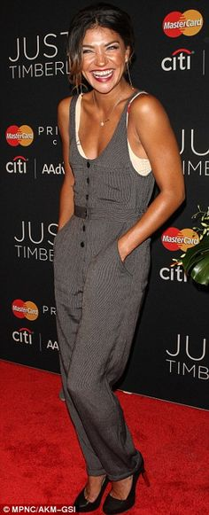 Jessica Szohr wore a gray jumpsuit for an exclusive Justin Timberlake show in NYC http://dailym.ai/1rezYG6