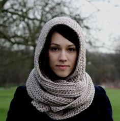 Hooded Scarf, Women s Scarf, Chunky Scarf, Hand Crocheted Hooded Scarf Camel